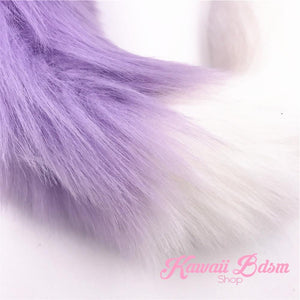 Extra Long Light Purple w/ White Tip Tail Plug