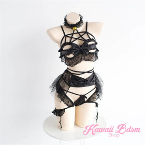 Cute lingerie pentagram wicca witch star bra harness garter belt lace sexy kinky black pink fetish aesthetic ddlg cglg mdlg ddlb mdlb little submissive little neko japanese goth gothic pastel  by Kawaii BDSM - cute and kinky / Worldwide Free Shipping (3714752184372)