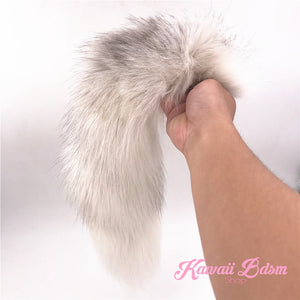 White Fluffy Fox Tail Plug (1579530125364)