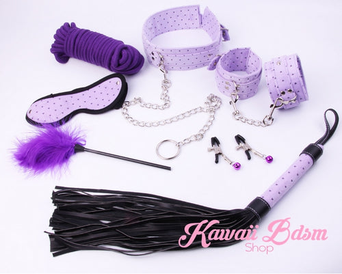 Bdsm kit Set 10 pcs pet bone gag hand cuffs collar leash ankle cuffs whip paddle nipple clamps  feather rope shibari bondage cute aesthetic ddlg cglg mdlg ddlb mdlb little submissive restraints sex couple by Kawaii BDSM - cute and kinky / Worldwide Free Shipping