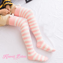 Pink Sheep Striped Thigh Highs