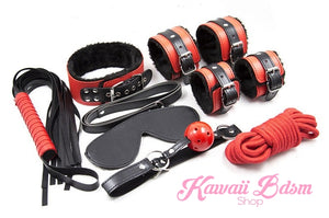 Bdsm kit Set 8 pcs Luxury Premium Superior Quality gag hand cuffs collar leash ankle cuffs whip paddle vegan leather bondage cute black red fetish aesthetic ddlg cglg mdlg ddlb mdlb little submissive restraints sex couple by Kawaii BDSM - cute and kinky / Worldwide Free Shipping (11034746631)