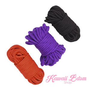 Extra long Shibari Rope kinbabu tied restraints Bondage submissive pink purple red and black cotton soft cute aesthetic kink positive  by Kawaii Bdsm - Cute and Kinky / Worldwide Free and Discreet Shipping