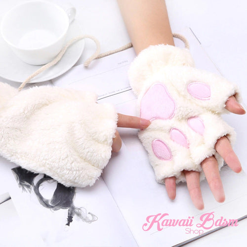 Plush Paw Fingerless Gloves (21118844935)
