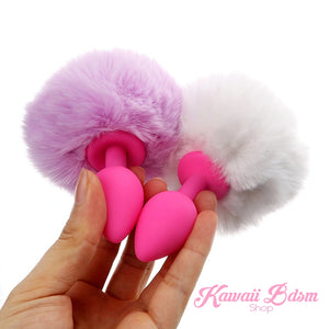 bunny rabbit vegan faux fur tail plug silicone stainless steel neko  kitten girl boy petplay pet sexy catgirl cat kitten adult toys buttplug plug anal ass submissive ddlg cgl mdlg mdlb ddlb little by Kawaii BDSM - cute and kinky / Worldwide Free Shipping (11264492231)