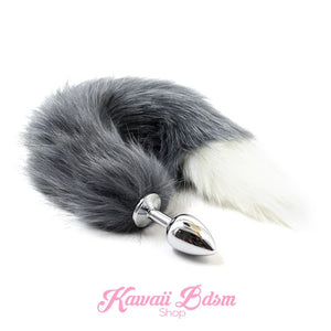 grey white wolf fox kitten cat play tail vegan faux fur tail plug silicone stainless steel neko catgirl cat kittenplay kitten girl boy petplay pet sexy adult toys buttplug plug anal ass submissive goth creepy cute yami ddlg cgl mdlg mdlb ddlb little by Kawaii BDSM - cute and kinky / Worldwide Free Shipping