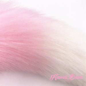 Pink and white vegan faux fur tail plug silicone stainless steel neko catgirl cat kittenplay kitten girl boy petplay pet sexy adult toys buttplug plug anal ass submissive goth creepy cute yami ddlg cgl mdlg mdlb ddlb little by Kawaii BDSM - cute and kinky / Worldwide Free Shipping