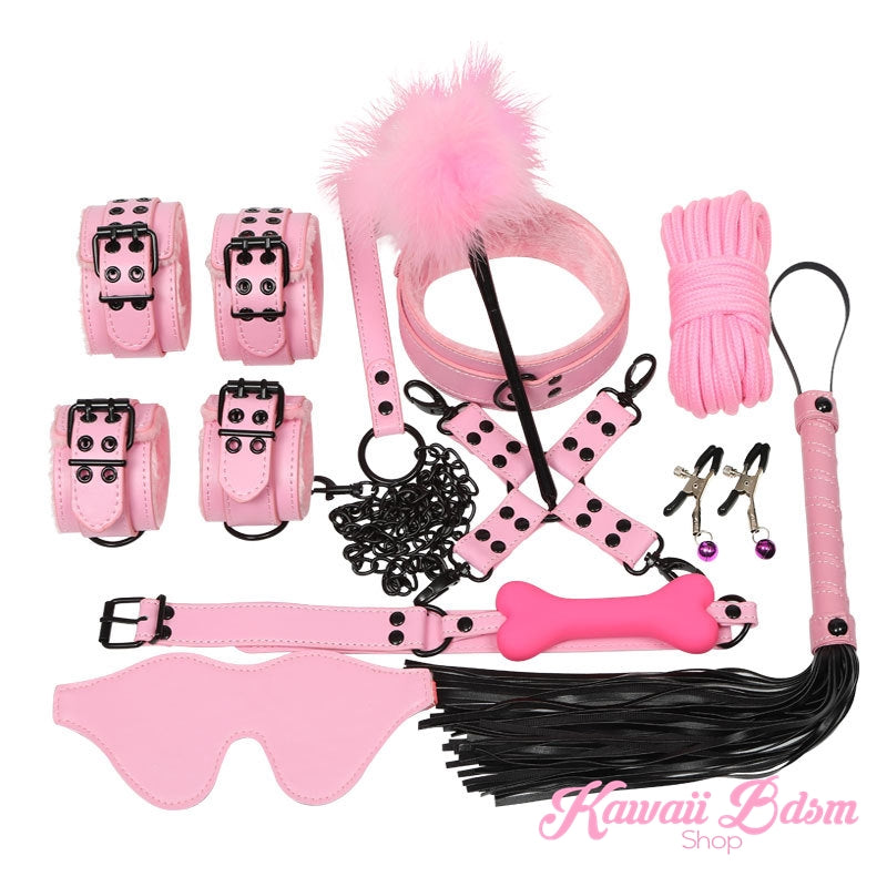 Bdsm kit Set 10 pcs pet bone gag hand cuffs collar leash ankle cuffs whip paddle nipple clamps  feather rope shibari bondage cute pink black red aesthetic ddlg cglg mdlg ddlb mdlb little submissive restraints sex couple by Kawaii BDSM - cute and kinky / Worldwide Free Shipping