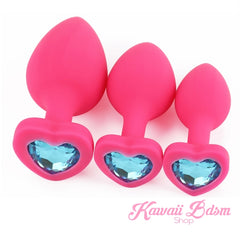 3 Heart Pink Silicone ButtPlugs Set