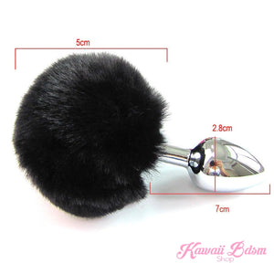 Black white vegan faux fur tail plug ears set silicone stainles steel bunny neko catgirl cat kittenplay kitten girl boy petplay pet sexy adult toys buttplug plug anal ass submissive ddlg cgl mdlg mdlb ddlb little aesthetic japanese sexy adult couple  by Kawaii BDSM - cute and kinky / Worldwide Free Shipping (3727579414580)