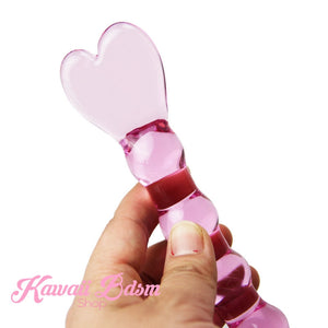 Bdsm Glass Dildo all Pink Heart Adult toy Wand Anal Plug Massager aesthetic kittenplay petplay sub bondage ddlg cglg babygirl mdlb by Kawaii Bdsm - Cute and Kinky / Worlwide Free and Disreet Shipping