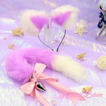 Lavender Purple Lilac White vegan faux fur tail plug ears set silicone stainles steel bunny neko catgirl cat kittenplay kitten girl boy petplay pet sexy adult toys buttplug plug anal ass submissive ddlg cgl mdlg mdlb ddlb little aesthetic japanese sexy adult couple  by Kawaii BDSM - cute and kinky / Worldwide Free Shipping