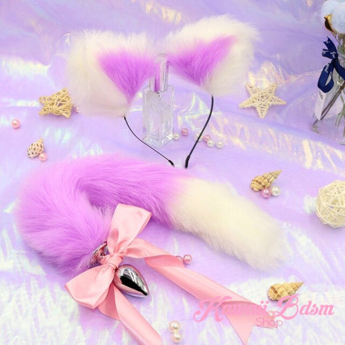 Lilac purple lavender pastel White vegan faux fur tail plug ears set silicone stainless steel bunny neko catgirl cat kittenplay kitten girl boy petplay pet sexy adult toys buttplug plug anal ass submissive ddlg cgl mdlg mdlb ddlb little aesthetic japanese sexy adult couple ddlgworld ddlgplayground by Kawaii BDSM - cute and kinky / Worldwide Free Shipping