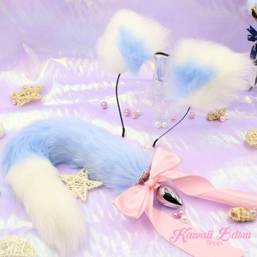Blue white vegan faux fur tail plug ears set silicone stainles steel bunny neko catgirl cat kittenplay kitten girl boy petplay pet sexy adult toys buttplug plug anal ass submissive ddlg cgl mdlg mdlb ddlb little aesthetic japanese sexy adult couple  by Kawaii BDSM - cute and kinky / Worldwide Free Shipping