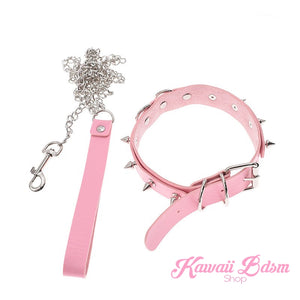 collar leash choker fashion goth sexy slave sub submissive ddlg cglg cglb mdlb mommy daddy little bondage black pink aesthetic white by Kawaii Bdsm - Cute and Kinky / Worldwide Free and Discreet Shipping  (781560414260)