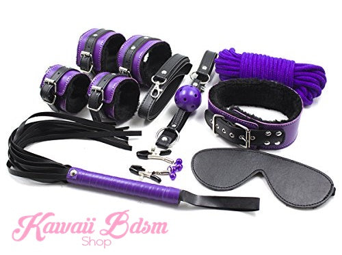 Bdsm kit Set 8 pcs Luxury Premium Superior Quality gag hand cuffs collar leash ankle cuffs whip paddle vegan leather bondage cute black purple fetish aesthetic ddlg cglg mdlg ddlb mdlb little submissive restraints sex couple by Kawaii BDSM - cute and kinky / Worldwide Free Shipping