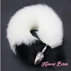Black and white fox kitten puppy play vegan faux fur tail plug silicone stainless steel neko catgirl cat kittenplay kitten girl boy petplay pet sexy adult toys buttplug plug anal ass submissive goth creepy cute yami ddlg cgl mdlg mdlb ddlb little by Kawaii BDSM - cute and kinky / Worldwide Free Shipping