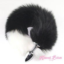Black and white vegan faux fur tail plug silicone stainless steel neko catgirl cat kittenplay kitten girl boy petplay pet sexy adult toys buttplug plug anal ass submissive goth creepy cute yami ddlg cgl mdlg mdlb ddlb little by Kawaii BDSM - cute and kinky / Worldwide Free Shipping