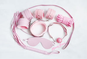 Bdsm kit Set 10 pcs pet bone gag hand cuffs collar leash ankle cuffs whip paddle nipple clamps  feather rope shibari bondage cute pink aesthetic ddlg cglg mdlg ddlb mdlb little submissive restraints sex couple by Kawaii BDSM - cute and kinky / Worldwide Free Shipping