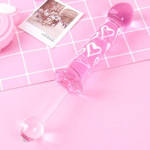 Bdsm Glass Dildo Pink Hearts Double Ended Wand Anal Plug Massager aesthetic kittenplay petplay sub bondage ddlg cglg babygirl mdlb by Kawaii Bdsm - Cute and Kinky / Worlwide Free and Disreet Shipping  (11508827911)