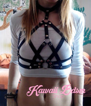 Harness Chest Body handmade bondage black sexy belt ddlg babygirl little one girl women submissive fetish fashion gothic goth pastel outfit little baby by Kawaii Bdsm - Cute and Kinky / Worlwide Free and Disreet Shipping
