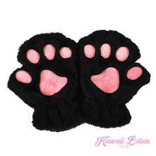Plush Paw Fingerless Gloves