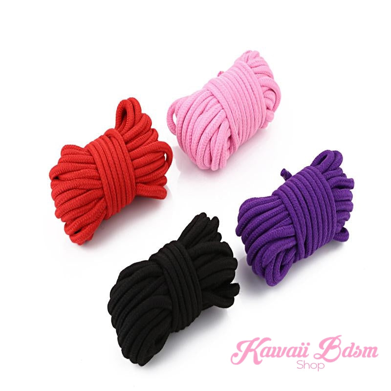 Shibari Rope kinbabu tied restraints Bondage submissive pink purple red and black cotton soft Harness cute aesthetic kink positive  by Kawaii Bdsm - Cute and Kinky / Worldwide Free and Discreet Shipping  (381930143781)