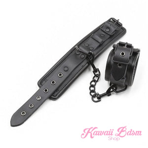 Bdsm bondage kit set vegan leather faux superior premium luxury restraints couple sex black collar hand cuffs ankle leash pet play kitten submissive sub slave by Kawaii Bdsm - cute and kinky / worldwide Free & Discreet Shipping (1227495637044)