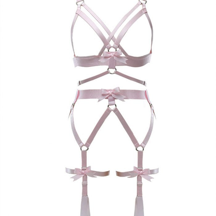 Harness Garter Chest Body handmade luxury bondage pink purple red black sexy belt ddlg babygirl little one girl women submissive by Kawaii Bdsm - Cute and Kinky / Worlwide Free and Disreet Shipping