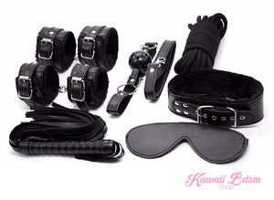 Bdsm kit Set 10 pcs pet bone gag hand cuffs collar leash ankle cuffs whip paddle nipple clamps  feather rope shibari bondage cute  black aesthetic ddlg cglg mdlg ddlb mdlb little submissive restraints sex couple by Kawaii BDSM - cute and kinky / Worldwide Free Shipping