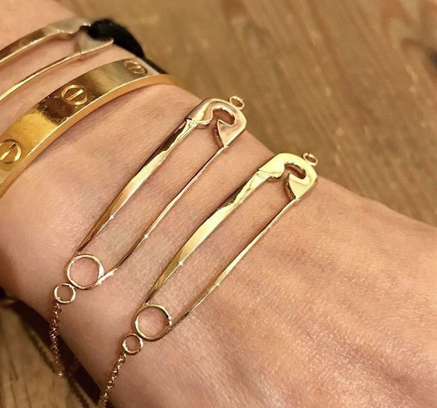 gold safety pin bracelet on chain equality goods