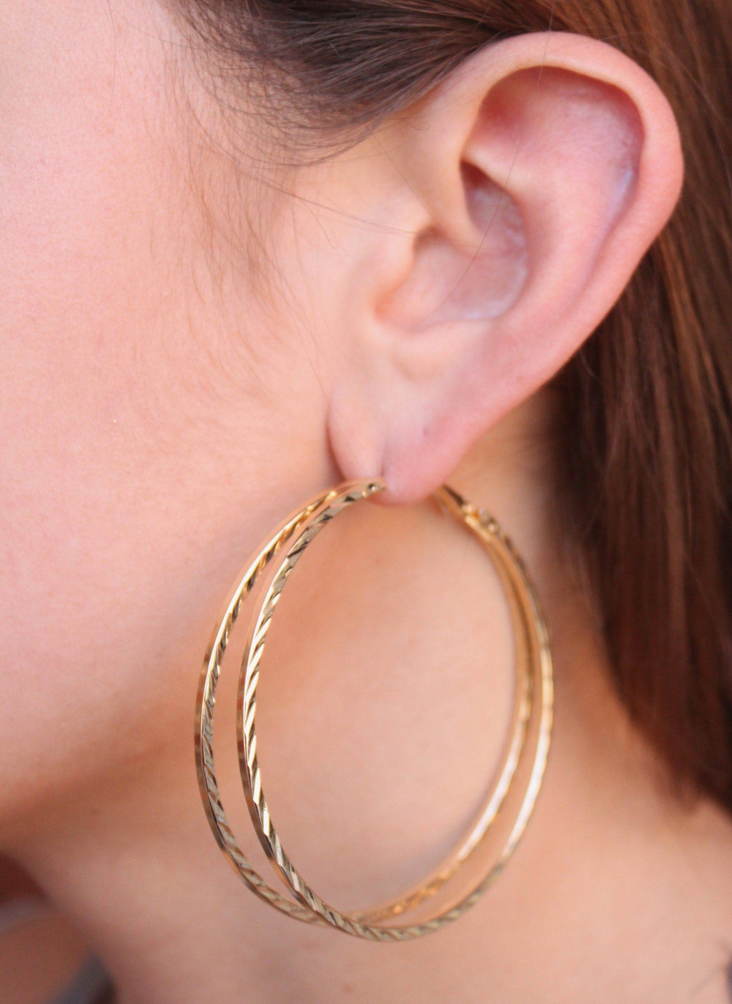 60MM Gold Textured Split Hoop - Caroline Hill