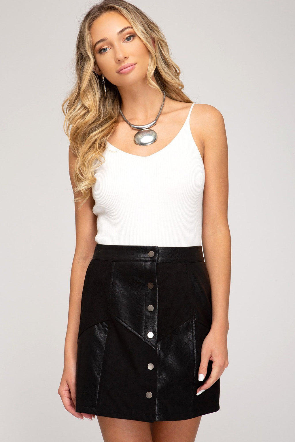 80's Revival Faux Leather & Suede Mix Mini Skirt - Caroline Hill