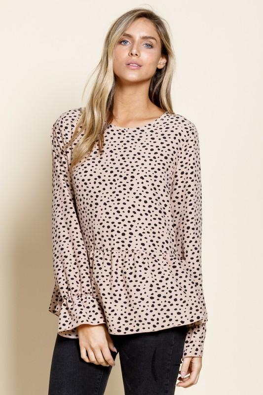 A Sight To See Spotted Peplum Top - Caroline Hill