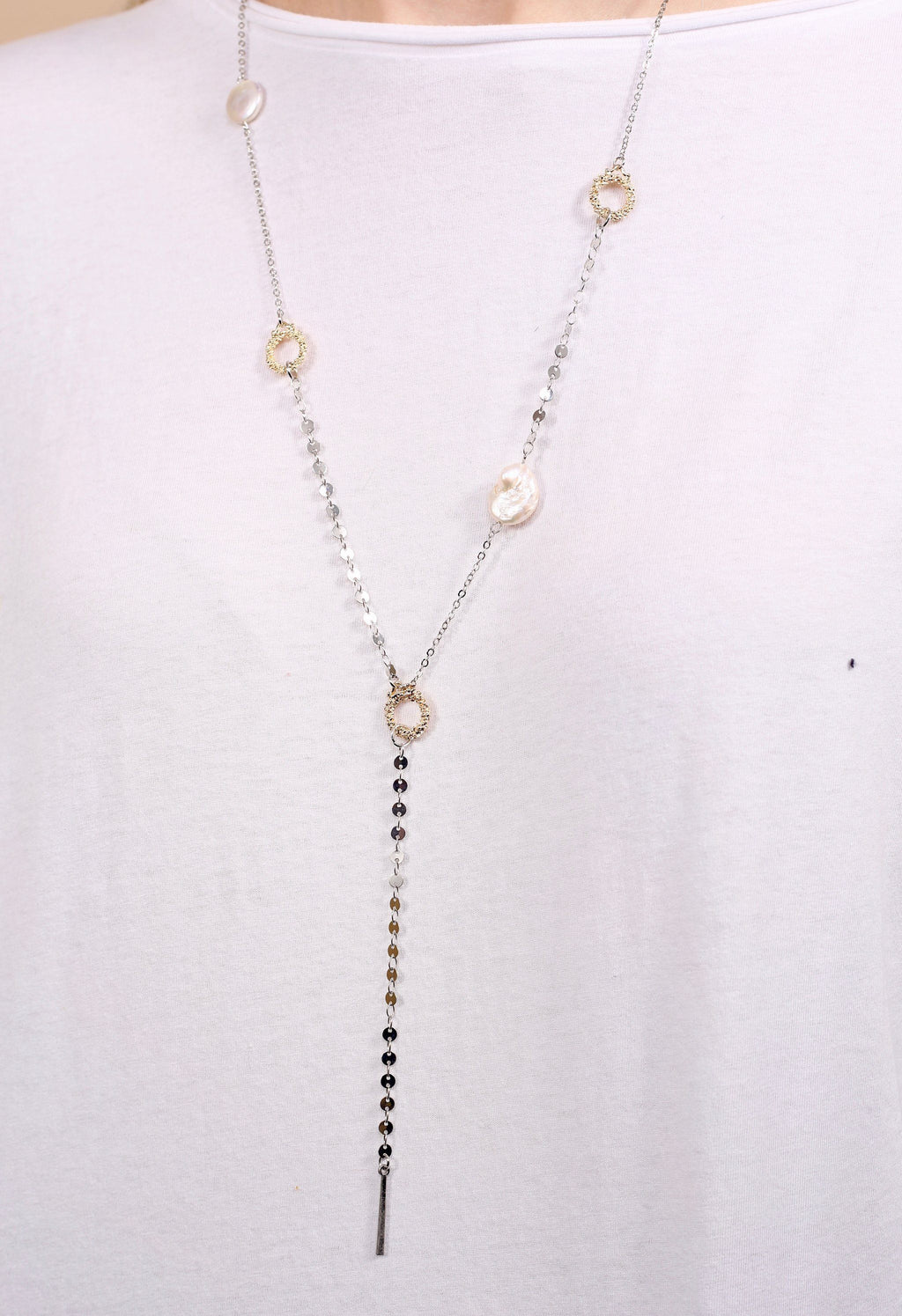 Addison Pearl and Gold Wreath Y Silver Necklace - Caroline Hill