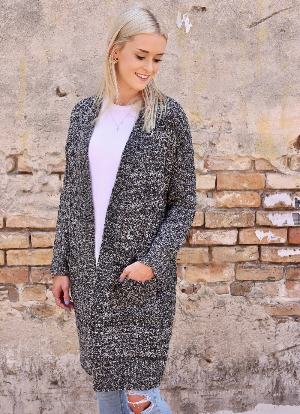 Addleigh Gray Cable Knit Cardigan - Caroline Hill