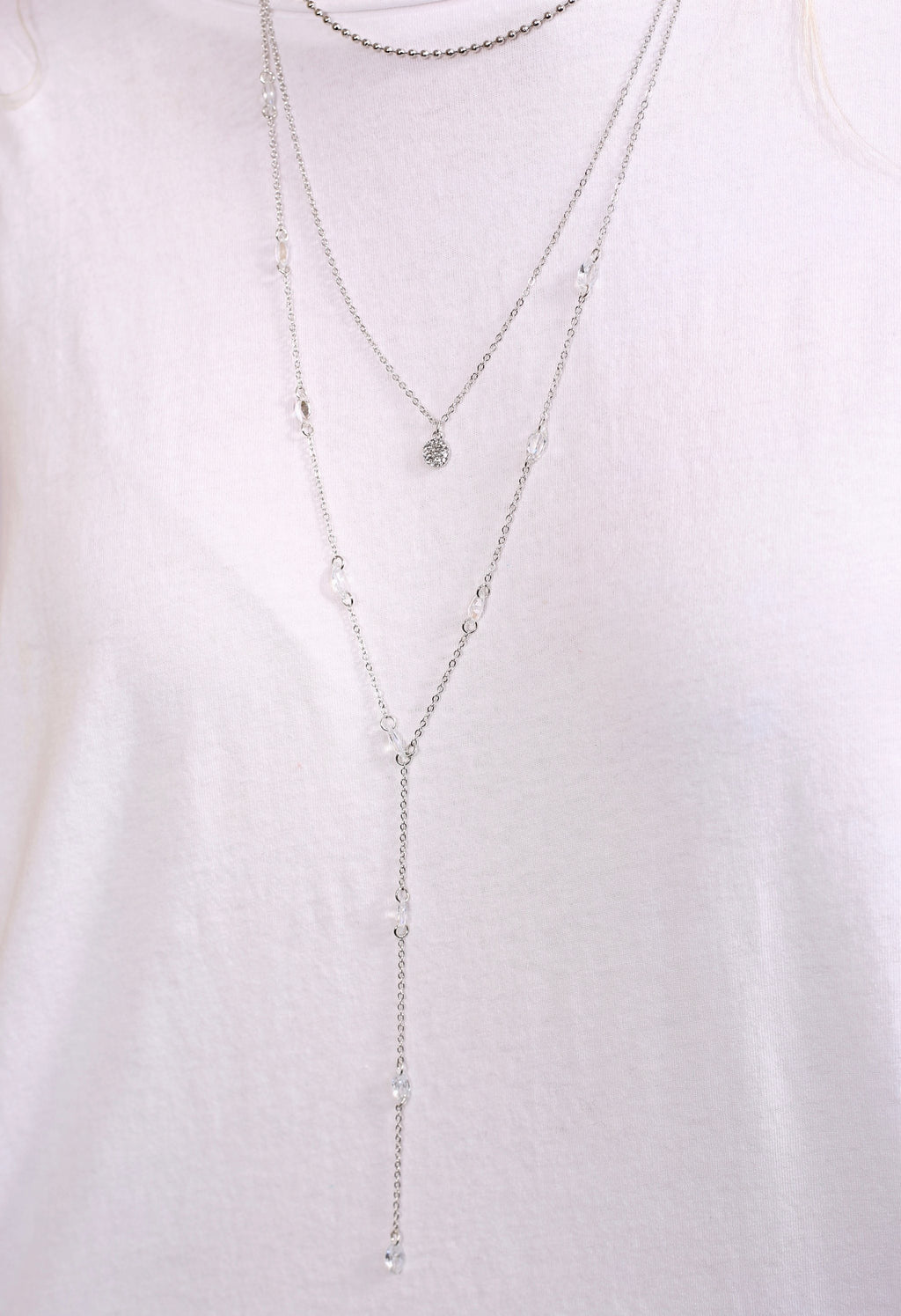 Adelaide Silver Layered Y Drop Necklace - Caroline Hill