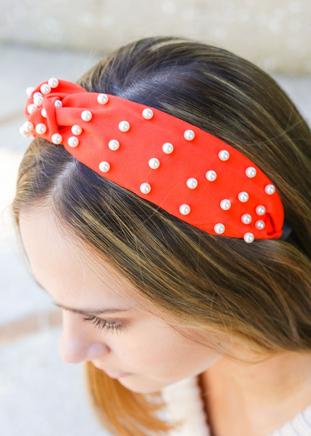Adelia Orange Pearl Headband - Caroline Hill