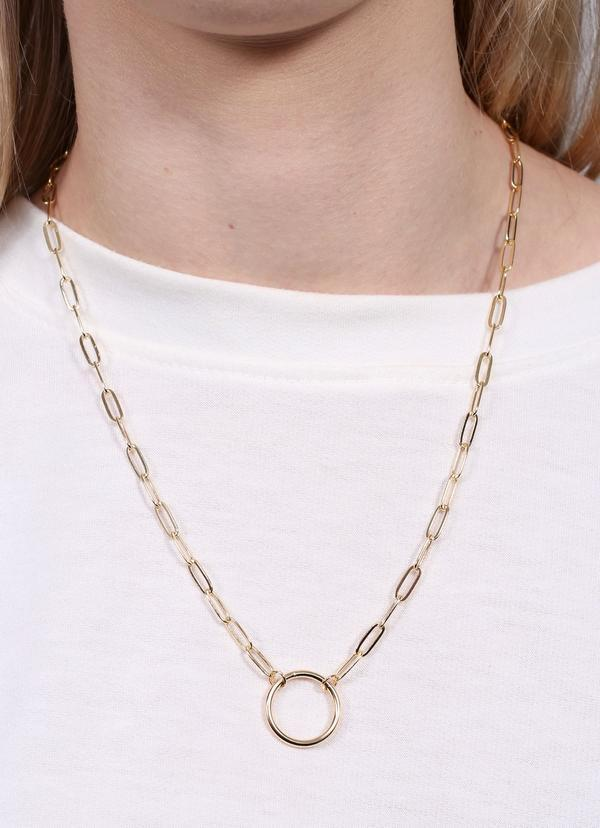 Aden Link Necklace With Open Circle Gold - Caroline Hill