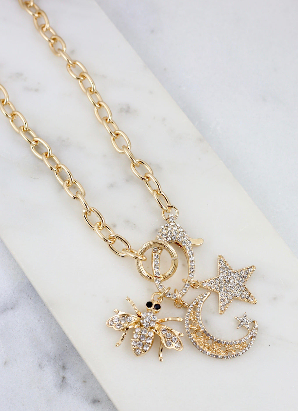 Adina Gold Multiple Charms CZ Necklace - Caroline Hill
