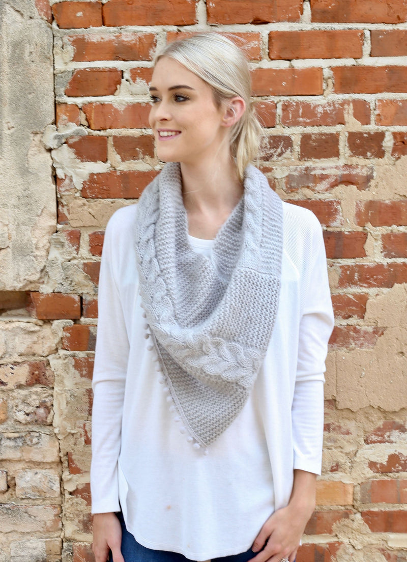 Aisha Loop Scarf With Pop Pom Trim Light Gray - Caroline Hill