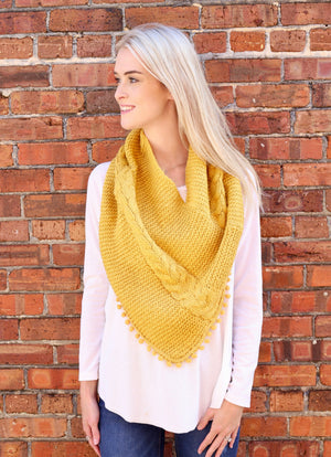 Aisha Loop Scarf With Pop Pom Trim Mustard - Caroline Hill