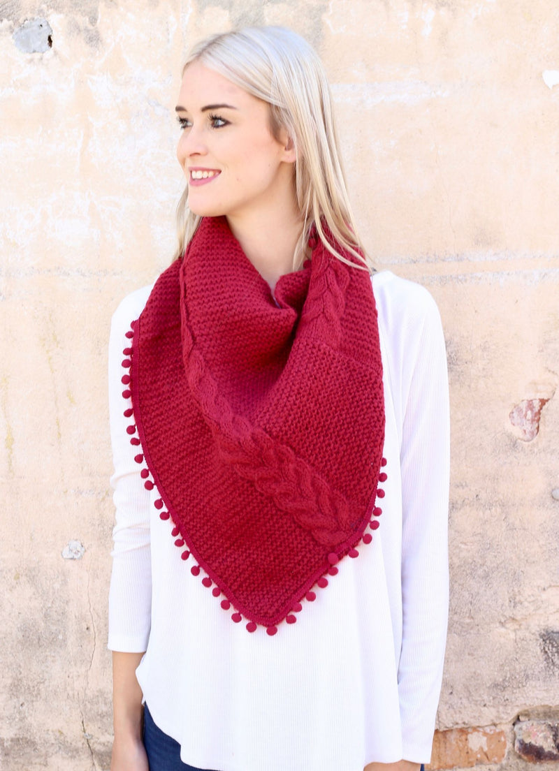 Aisha Loop Scarf With Pop Pom Trim Red - Caroline Hill