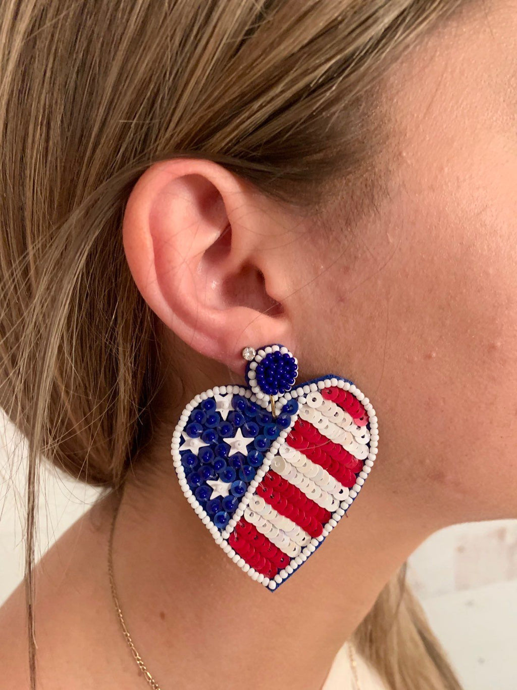 Alafair Sequin American Flag Heart Shaped Earrings - Caroline Hill