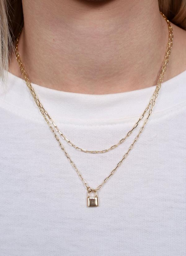 Alessi Layered Necklace With Lock Charm Gold - Caroline Hill