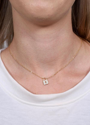 Alessia Cz Lock Charm Necklace Gold - Caroline Hill