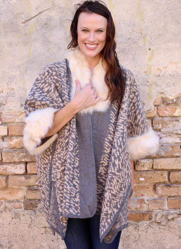 Alexandra Gray Animal Print Shawl - Caroline Hill