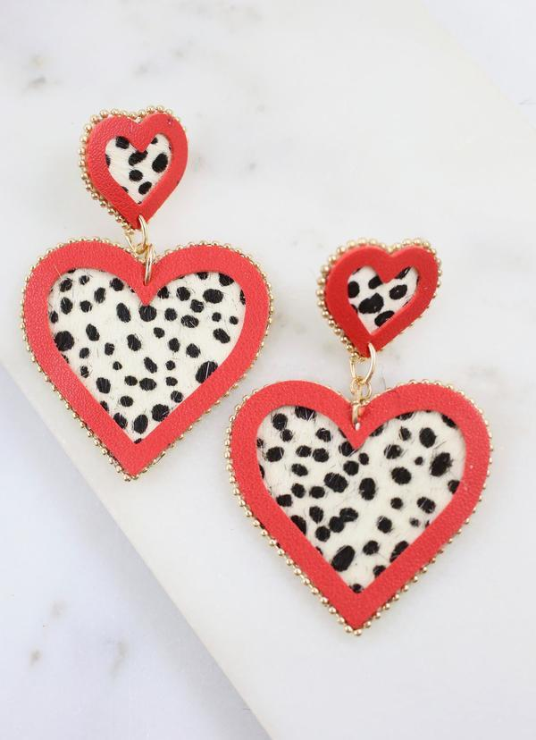 Alison Animal Print Drop Heart Earring Black White - Caroline Hill