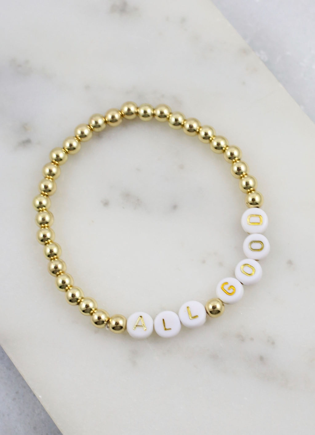 All Good Bead Word Bracelet Gold - Caroline Hill