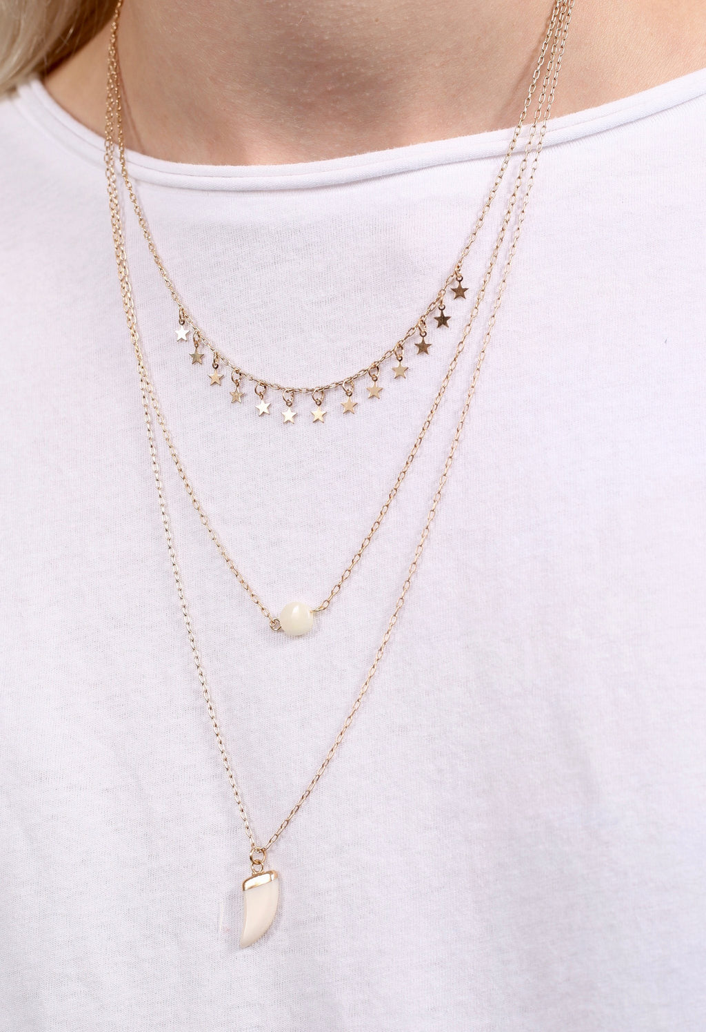 Alta Vista Horn and Star Layered Necklace Gold - Caroline Hill